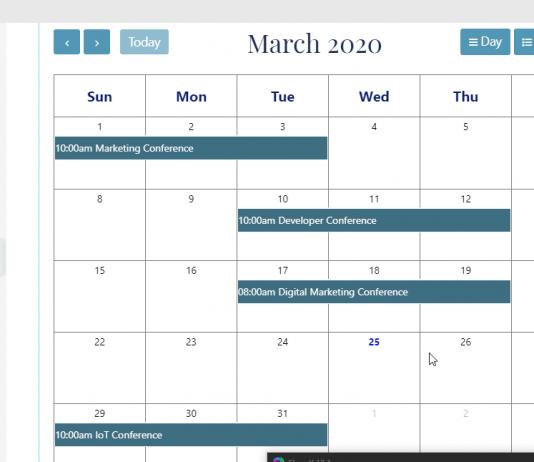 google calendar using EA events elements