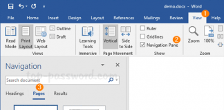 remove a page in word